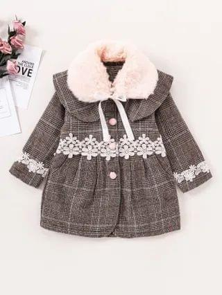 KIDS Appliques Bow Back Contrast Teddy Collar Overcoat