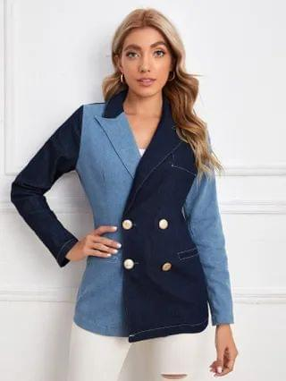 WOMEN Double Button Color Block Denim Blazer