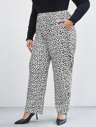 WOMEN Plus All Over Print Slant Pocket Wide Leg Pants