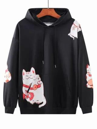 MEN Lucky Cat Print Drop Shoulder Hooded Sweatshirt