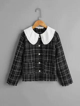 KIDS Contrast Collar Patch Pocket Plaid Tweed Jacket