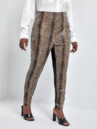 WOMEN Plus Color Block Snakeskin Leather Look Pants