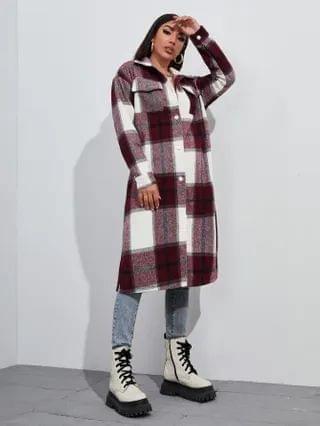 WOMEN Button Front Flap Pocket Plaid Overcoat