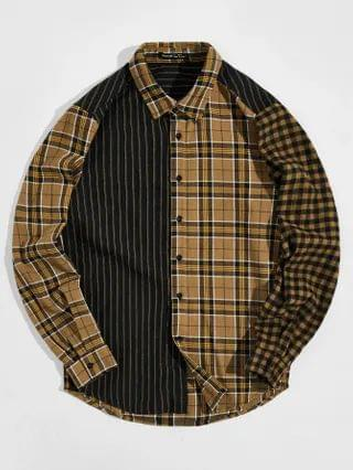 MEN Collared Striped and Tartan Shirt