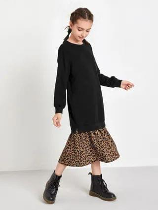 KIDS Drop Shoulder Contrast Leopard Hem Sweatshirt Dress