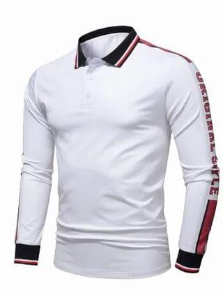 MEN Striped Letter Graphic Polo Shirt