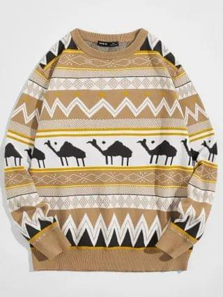 MEN Camel and Geo Pattern Sweater
