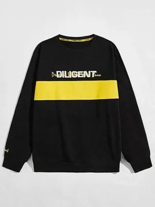 MEN Letter Embroidery Color-block Sweatshirt