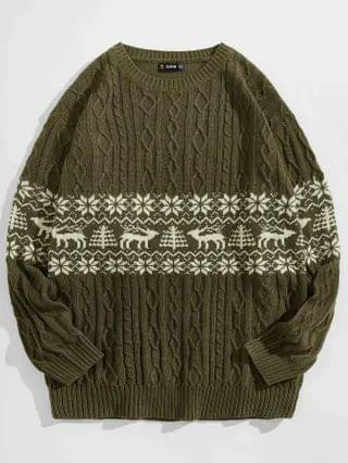 MEN Christmas Pattern Cable Knit Sweater