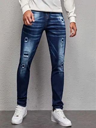 MEN Ripped Zipper Fly Tapered Jeans