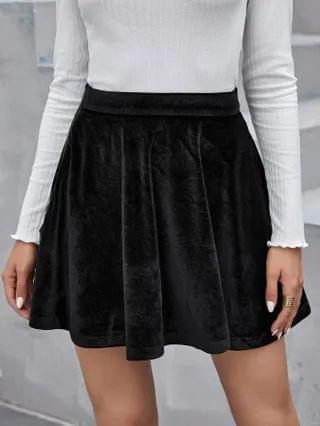 WOMEN Zipper Side Solid Velvet Skirt