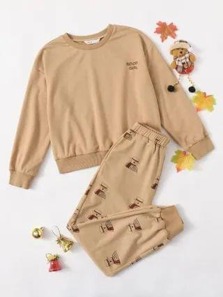 KIDS Letter Embroidered Pullover & Snowman Print Joggers Set