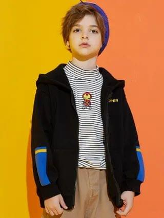 KIDS Letter Embroider Zip Up Hoodie