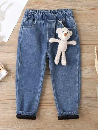 KIDS Thermal Pocket Carrot Jeans With Doll Bear