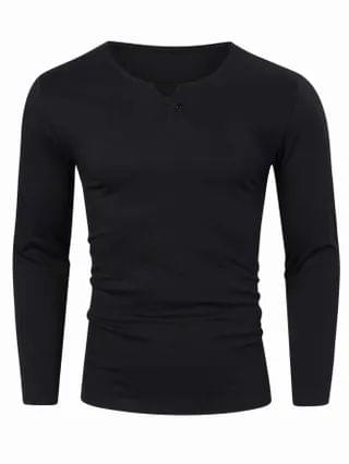 MEN Notched Neck Solid Tee