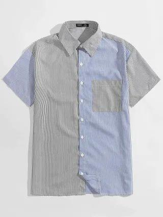 MEN Collared Pocket Front Spliced Striped Shirt
