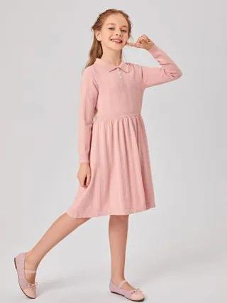 KIDS Collared Buttoned Front Sweater Dress