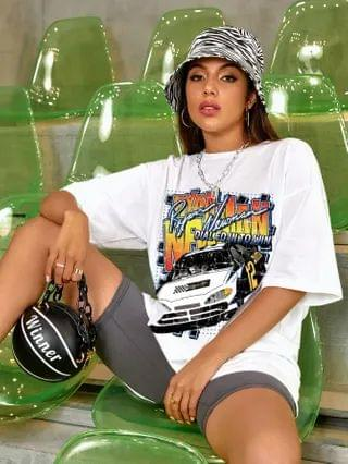 WOMEN Letter And Car Print Oversized Tee