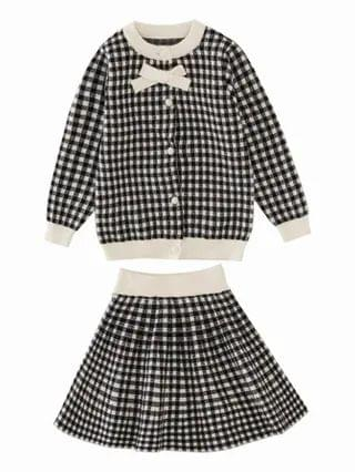 KIDS Gingham Bow Front Cardigan With Sweater Skirt