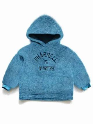 KIDS Letter Embroidery Teddy Hoodie