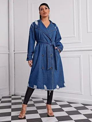 WOMEN Ripped Raw Hem Double Breasted Belted Denim Trench Coat