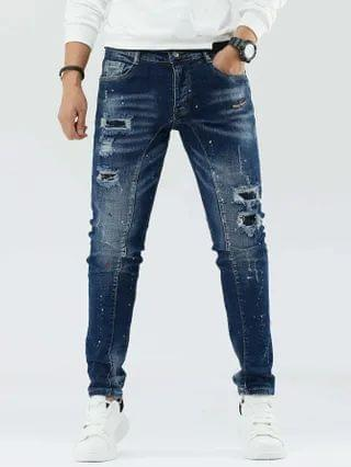 MEN Splatter Paint Ripped Washed Jeans
