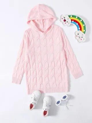 KIDS Solid Hooded Cable Knit Sweater