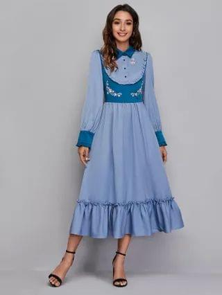 WOMEN Frilled Floral Embroidered Ruffle Hem Colorblock Dress