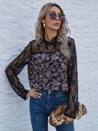 WOMEN Contrast Lace Ditsy Floral Blouse