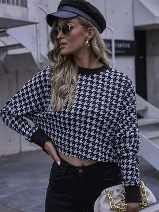 WOMEN Houndstooth Drop Shoulder Crop Tee