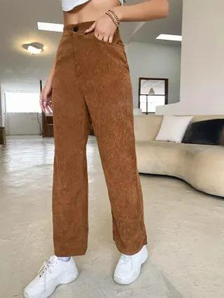 WOMEN Zipper Fly Pocket Detail Cord Pants