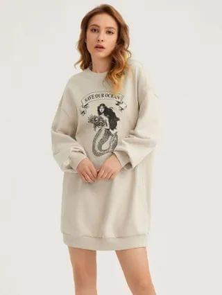 WOMEN Letter and Mermaid Print Sweatshirt Dress