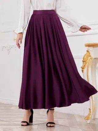 WOMEN Zipper Side Solid Flare Skirt