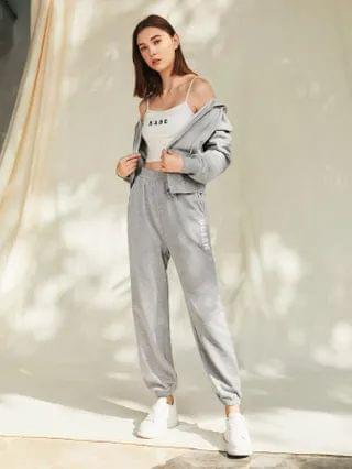 WOMEN Letter Graphic Hoodie & Joggers Set