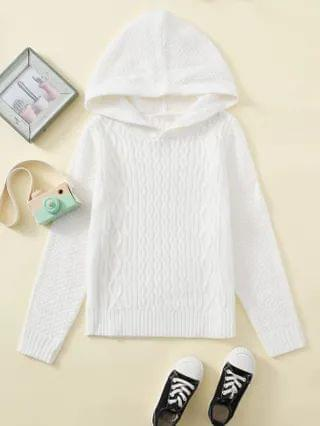 KIDS Cable Knit Hooded Sweater