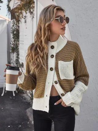 WOMEN Button Front Patch Pocket Cardigan