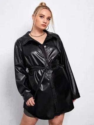 WOMEN Plus PU Leather Belted Button Front Coat