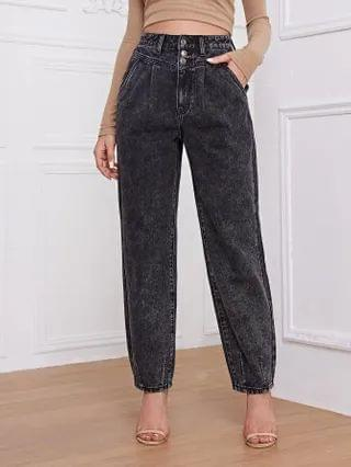 WOMEN High Waisted Button Fly Jogger Jeans