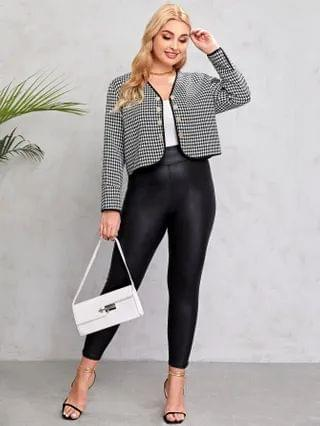 WOMEN Plus Double Button Houndstooth Jacket