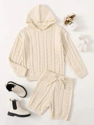 KIDS Cable Knit Hooded Sweater & Bow Front Shorts Set