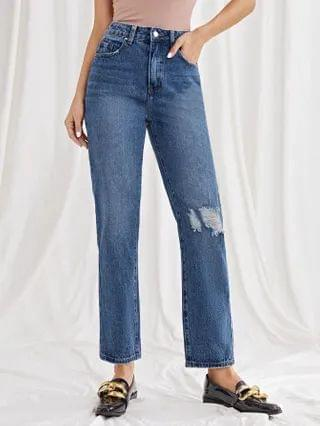 WOMEN High Waist Ripped Straight Leg Jeans
