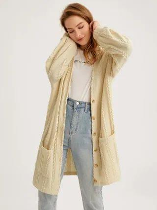 WOMEN Single Breasted Pocket Front Cable Knit Coat