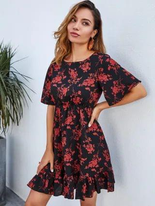 WOMEN Ruffle Hem Floral Print Dress