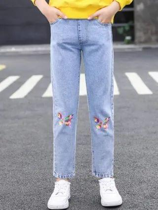 KIDS Butterfly Print Straight Jeans
