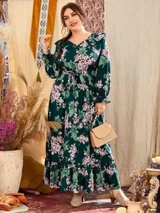 WOMEN Plus Floral Print A-line Dress