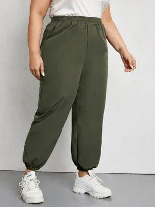 WOMEN Plus Solid Slant Pocket Pants