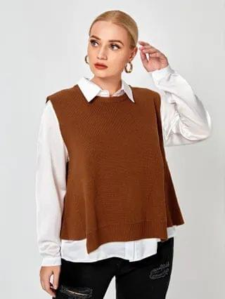 WOMEN Plus Solid Sweater Vest Without Blouse