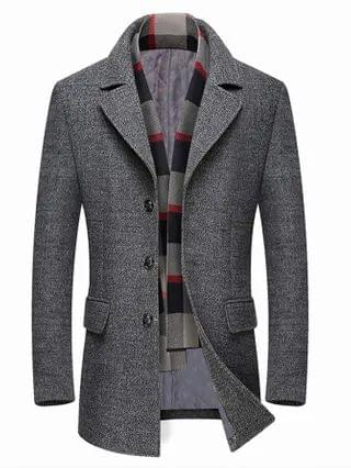 MEN Contrast Plaid Panel Single Breasted Overcoat