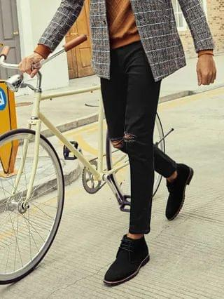 MEN Ripped Skinny Button Fly Jeans