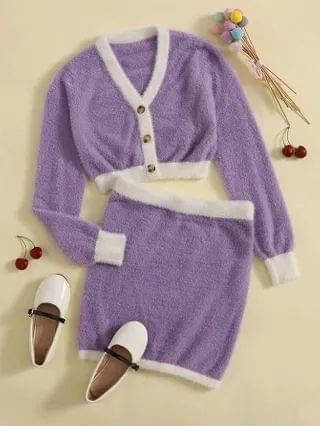 KIDS Button Front Fuzzy Cardigan & Skirt Sweater Set
